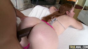 Dotadão fazendo a ruiva gozar no anal
